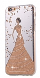 Eiroo Wedding iPhone 6 Plus / 6S Plus Silikon Kenarlı Gold Rubber Kılıf