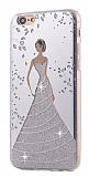 Eiroo Wedding iPhone 6 Plus / 6S Plus Silikon Kenarlı Silver Rubber Kılıf