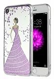 Eiroo Wedding iPhone 7 Silikon Kenarlı Mor Rubber Kılıf