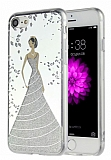 Eiroo Wedding iPhone 7 / 8 Silikon Kenarlı Silver Rubber Kılıf
