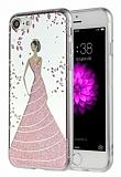 Eiroo Wedding iPhone 7 Silikon Kenarlı Pembe Rubber Kılıf