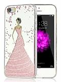 Eiroo Wedding iPhone SE / 5 / 5S Silikon Kenarlı Pembe Rubber Kılıf