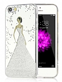 Eiroo Wedding iPhone SE / 5 / 5S Silikon Kenarlı Silver Rubber Kılıf