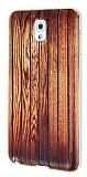Eiroo Wooden Samsung N9000 Galaxy Note 3 Metal Kenarl� Kahverengi Rubber K�l�f