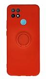 Eiroo Oppo A15 Yüzük Tutuculu Kırmızı Silikon Kılıf