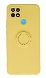 Eiroo Oppo A15 Yüzük Tutuculu Sarı Silikon Kılıf