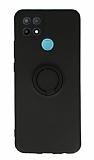 Eiroo Oppo A15 Yüzük Tutuculu Siyah Silikon Kılıf