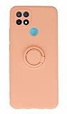 Eiroo Oppo A15 Yüzük Tutuculu Açık Pembe Silikon Kılıf