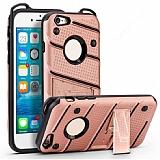 Eiroo Zag Armor iPhone 6 / 6S Standlı Ultra Koruma Rose Gold Kılıf