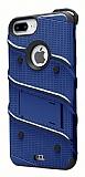 Eiroo Zag Armor iPhone 7 Plus / 8 Plus Standlı Ultra Koruma Lacivert Kılıf