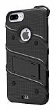 Eiroo Zag Armor iPhone 7 Plus / 8 Plus Standlı Ultra Koruma Siyah Kılıf