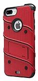 Eiroo Zag Armor iPhone 7 Plus Standlı Ultra Koruma Kırmızı Kılıf