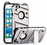 Eiroo Zag Armor iPhone 7 / 8 Standlı Ultra Koruma Silver Kılıf
