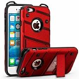 Eiroo Zag Armor iPhone 7 / 8 Standlı Ultra Koruma Kırmızı Kılıf