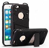 Eiroo Zag Armor iPhone SE / 5 / 5S Standlı Ultra Koruma Siyah Kılıf