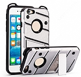 Eiroo Zag Armor iPhone SE / 5 / 5S Standlı Ultra Koruma Silver Kılıf