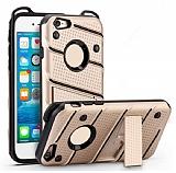 Eiroo Zag Armor iPhone SE / 5 / 5S Standlı Ultra Koruma Gold Kılıf