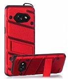 Eiroo Zag Armor Samsung Galaxy A3 2017 Standlı Ultra Koruma Kırmızı Kılıf
