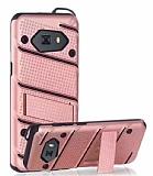 Eiroo Zag Armor Samsung Galaxy C9 Pro Standlı Ultra Koruma Rose Gold Kılıf