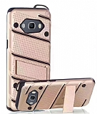 Eiroo Zag Armor Samsung Galaxy J5 2016 Standlı Ultra Koruma Gold Kılıf