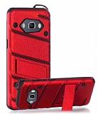 Eiroo Zag Armor Samsung Galaxy J7 2016 Standlı Ultra Koruma Kırmızı Kılıf