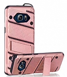 Eiroo Zag Armor Samsung Galaxy Note 5 Standlı Ultra Koruma Rose Gold Kılıf