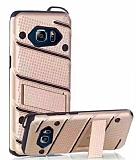 Eiroo Zag Armor Samsung Galaxy Note 5 Standlı Ultra Koruma Gold Kılıf
