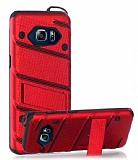 Eiroo Zag Armor Samsung Galaxy Note 5 Standlı Ultra Koruma Kırmızı Kılıf