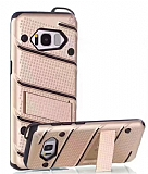 Eiroo Zag Armor Samsung Galaxy S8 Plus Standlı Ultra Koruma Gold Kılıf