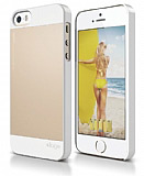 Elago iPhone SE / 5 / 5S S5 OutFit Series Mat Gold Beyaz Rubber K�l�f