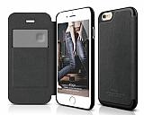 Elago iPhone 6 / 6S Kapakl� Siyah Deri K�l�f