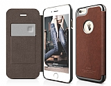 Elago iPhone 6 Plus / 6S Plus Kapaklı Kahverengi-Gri Deri Kılıf