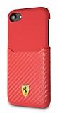 Ferrari iPhone 6 / 6S / 7 / 8 Gerçek Deri Karbon Kırmızı Rubber Kılıf