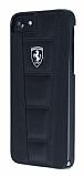 Ferrari iPhone 6 / 6S / 7 / 8 Gerçek Deri Siyah Rubber Kılıf