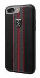Ferrari iPhone 6 Plus / 6S Plus / 7 Plus / 8 Plus Gerçek Deri Rubber Kılıf