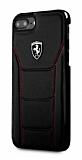 Ferrari iPhone 6 Plus / 6S Plus / 7 Plus / 8 Plus Gerçek Deri Siyah Kılıf