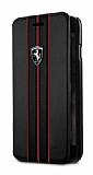 Ferrari iPhone 6 Plus / 6S Plus / 7 Plus / 8 Plus Kapaklı Gerçek Deri Kılıf