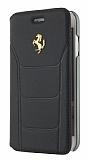 Ferrari iPhone 7 Cüzdanlı Kapaklı Gerçek Siyah Deri Kılıf