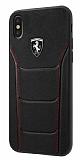 Ferrari iPhone X Gerçek Deri Siyah Rubber Kılıf