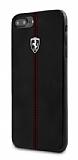 Ferrari iPhone 6 Plus / 6S Plus / 7 Plus / 8 Plus Gerçek Deri Siyah Rubber Kılıf