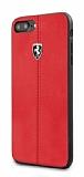 Ferrari iPhone 6 Plus / 6S Plus / 7 Plus / 8 Plus Gerçek Deri Kırmızı Rubber Kılıf