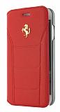 Ferrari iPhone 7 Plus Cüzdanlı Kapaklı Gerçek Kırmızı Deri Kılıf