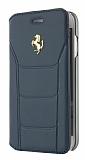Ferrari iPhone 7 Plus Cüzdanlı Kapaklı Gerçek Lacivert Deri Kılıf