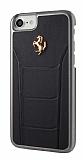 Ferrari iPhone 7 Gerçek Deri Siyah Rubber Kılıf