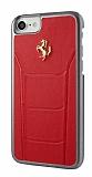 Ferrari iPhone 7 Gerçek Deri Kırmızı Rubber Kılıf