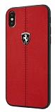 Ferrari iPhone X Gerçek Deri Kırmızı Rubber Kılıf