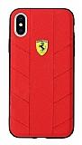 Ferrari iPhone X / XS Silikon Kenarlı Kırmızı Rubber Kılıf