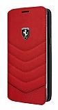 Ferrari Samsung Galaxy S8 Plus Cüzdanlı Kapaklı Gerçek Kırmızı Deri Kılıf