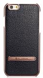 G-Case iPhone 6 / 6S Rose Gold Kenarlı Standlı Deri Siyah Rubber Kılıf
