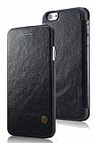 G-Case iPhone 6 Plus / 6S Plus C�zdanl� �nce Yan Kapakl� Siyah Deri K�l�f